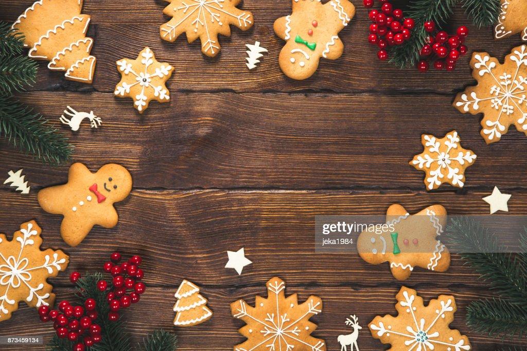 Weihnachten Hintergrund Mit Hausgemachten Lebkuchen Und Neujahr