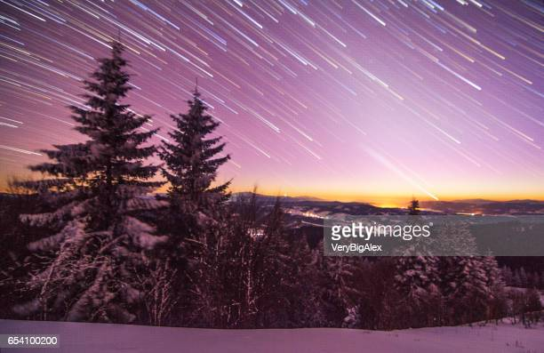 christmas background with snowy fir trees and copy space - film poster stock pictures, royalty-free photos & images