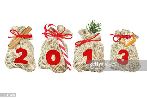 Christmas bags (year 2013) isolated on white