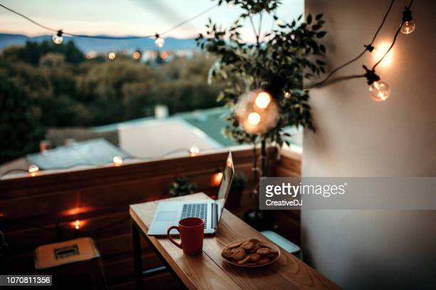 christmas balcony decoration - balcony stock pictures, royalty-free photos & images