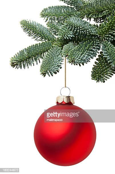 christmas ball hanging on a fir tree branch - christmas tree stock pictures, royalty-free photos & images