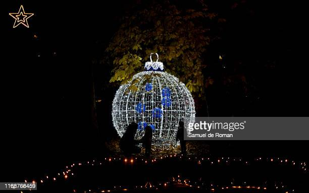 Christmas ball is seen illuminated at the Royal Botanical Garden Of Madrid Botanic Garden Inaugurates Christmas Lighting In Madrid on November 19...