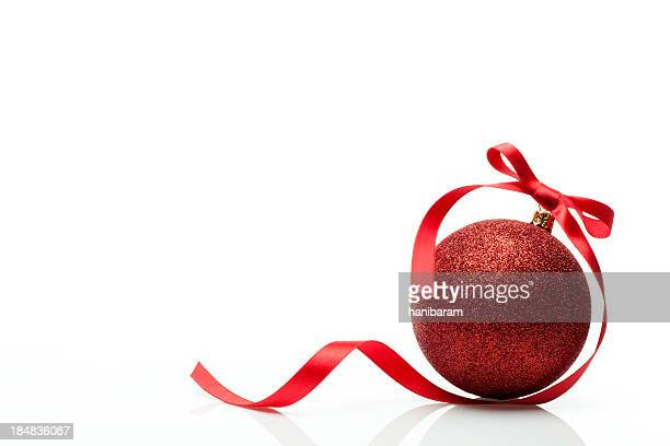 christmas ball & red ribbon - christmas decoration stock pictures, royalty-free photos & images