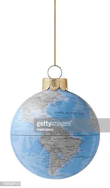 christmas ball with globe - mapa mundi stock pictures, royalty-free photos & images