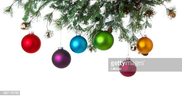 Christmas Balls Hanging from Pine Garland