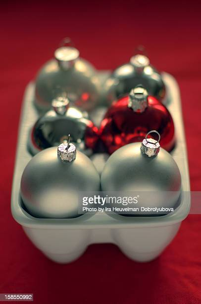 Christmas balls in egg holder
