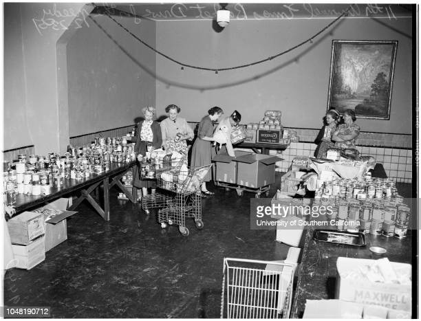 Christmas basket drive in Culver City 23 December 1951 General views of Christmas basket for needy families
