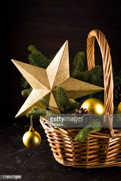 christmas basket with gift fir tree
