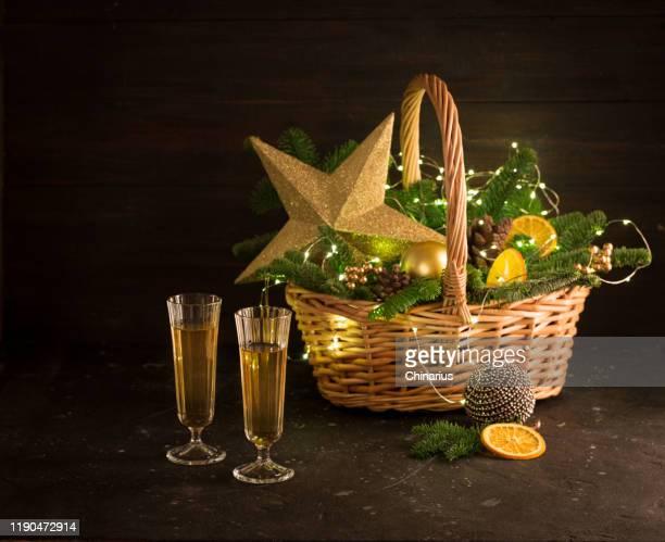 christmas basket with gift fir tree