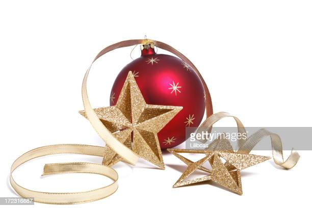 Christmas Bauble and Star Decorations with Gold Ribbon on White