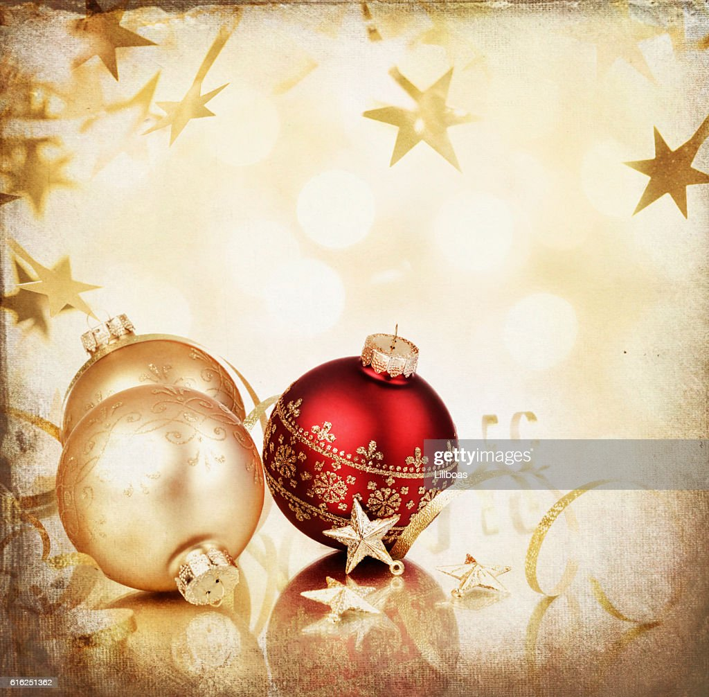 Christmas Bauble Ball Arrangement on Gold Starry Grunge Background : Foto de stock