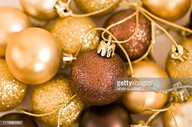 christmas bauble decorations - hello december stock pictures, royalty-free photos & images