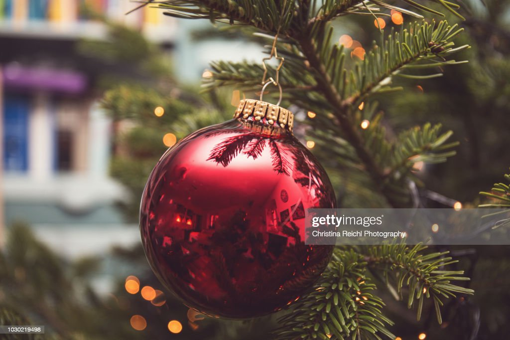 Christmas Bauble hanging on Christmas tree : Stock Photo