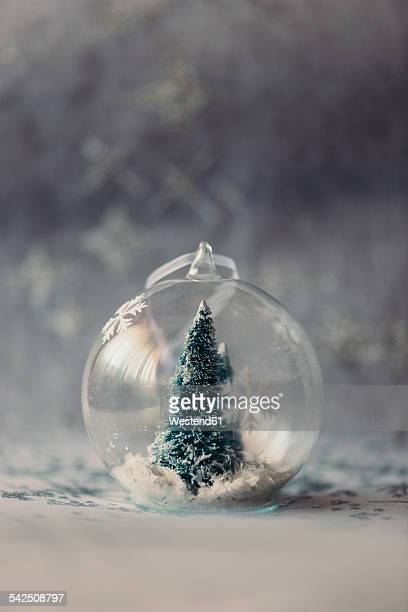 christmas bauble made of glass with fir tree and artificial snow inside - abeto fotografías e imágenes de stock