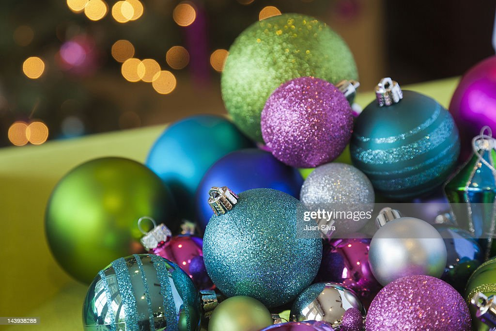 Christmas Baubles And Ornaments On Table Stock Photo Getty Images