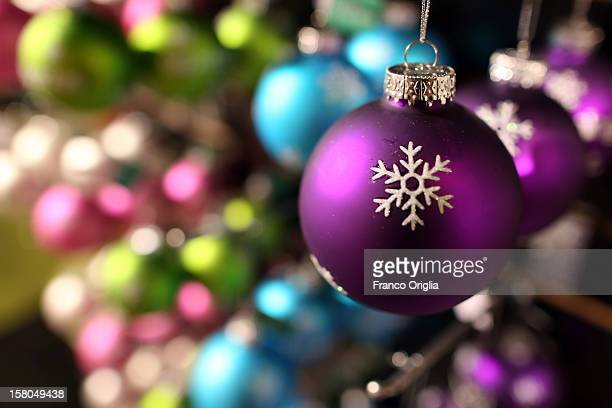 Christmas baubles are displayed at the Bloomingdal's store on December 5, 2012 in New York City. Christmas holiday season in New York is the most...