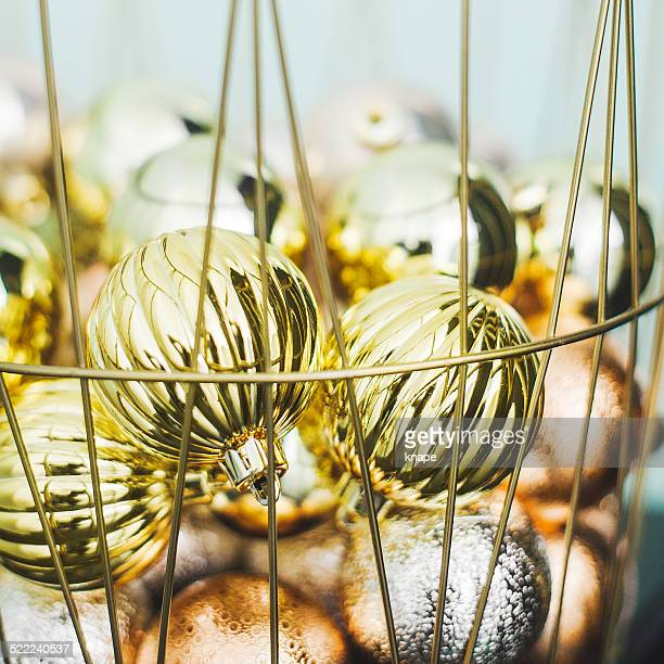 Christmas baubles decorations in basket