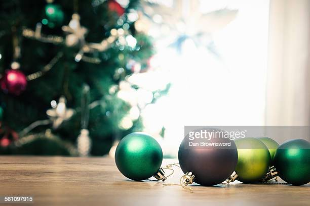 Christmas baubles on floor, close up