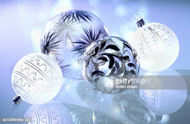 Christmas baubles on glass