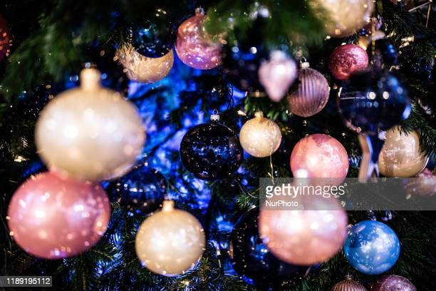 Christmas baubles, ornaments and decorations in Poland on 17 December 2019.