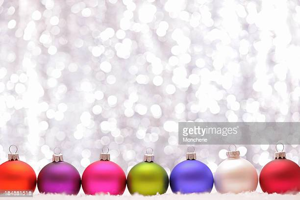 Christmas baubles with illuminated background