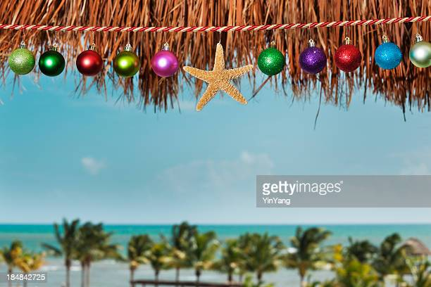 christmas beach vacation with holiday decorations by tropical caribbean sea - beach christmas stock pictures, royalty-free photos & images