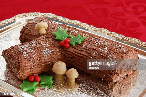buche de noel - yule log stock photos and pictures