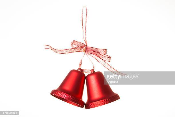 christmas bells, isolated on white - bell stock pictures, royalty-free photos & images