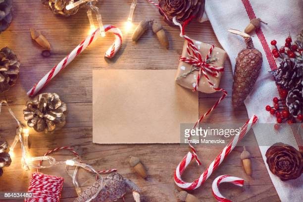 christmas blank letter with christmas decoration on wooden background - wood table top stock photos and pictures
