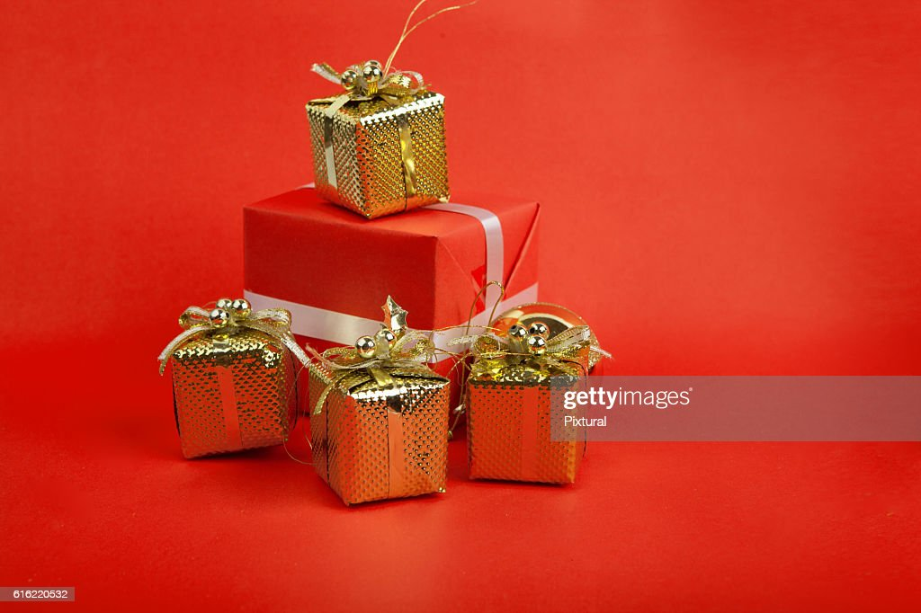 Christmas  box  with copy space : Bildbanksbilder