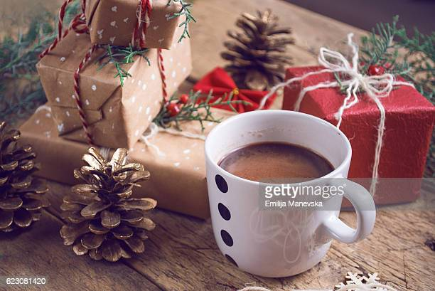 christmas boxes and hot chocolate cup - macedonia country stock pictures, royalty-free photos & images