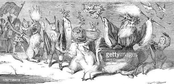 Christmas, by Alfred Crowquill, 1844. Father Christmas, carrying a flaming torch, leads a procession including a goose, a plum pudding garnished with...