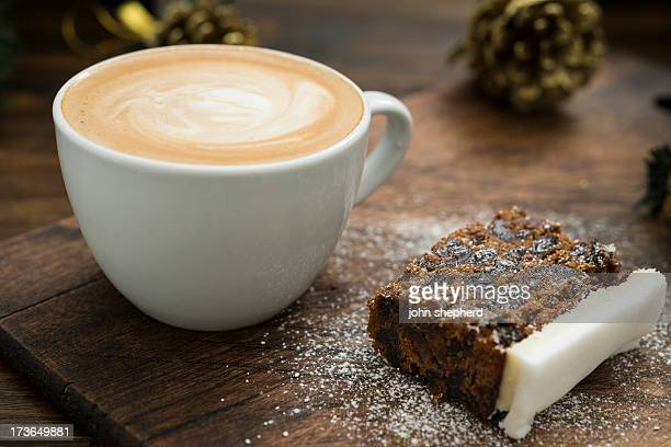 christmas cake and coffee - christmas cake stock photos and pictures