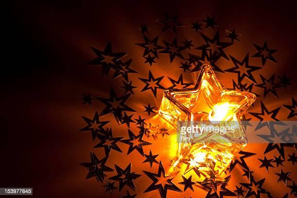 Weihnachten Kerze Kugeln Bänder mit copyspace