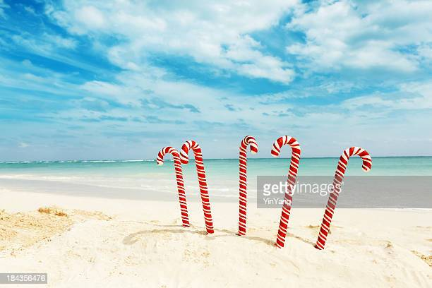 christmas candy canes on tropical caribbean beach winter travel holiday - mexican christmas stock photos and pictures