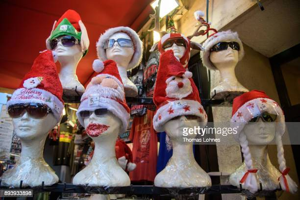Christmas caps pictured at the annual Christmas market at Roemerberg on December 16 2017 in Frankfurt Germany Christmas markets are an essential...