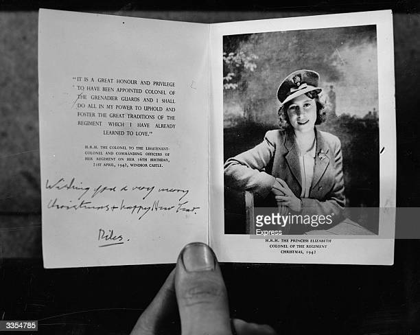 Christmas card from Princess Elizabeth to the Grenadier Guards regiment of the British Army
