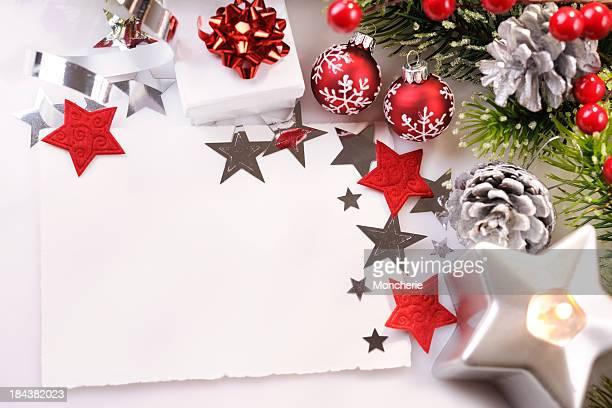 クリスマスカード、赤、緑、シルバー
