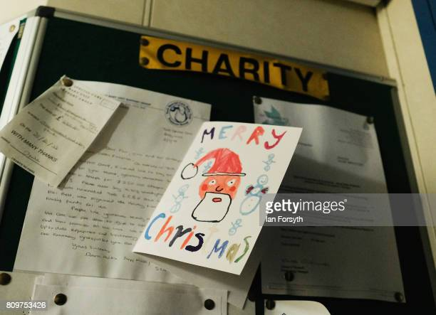 Christmas card is pinned to a noticeboard onboard the decommissioned Brent Delta Topside oil platform at the Able UK site at Seaton Port on July 6...