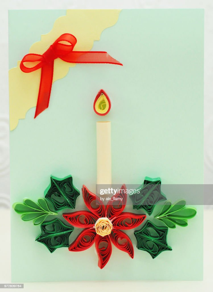 Christmas Card Made With Quilling Techique Stock Photo Getty Images