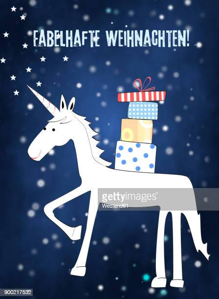 Christmas card of unicorn with Christman presents