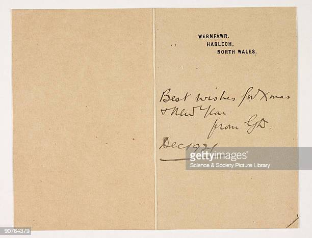 Christmas card signed by George Davison [18541930] in 1921 This card was sent in 1921 together with a photograph of a woman and baby a contemporary...