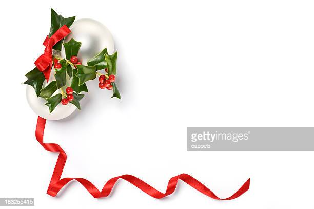 Christmas Card With Holly And Balls.Color Image