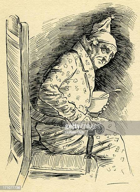 ' A Christmas Carol' by Charles Dickens Caption reads Scrooge sitting in his room in front of the fire Originally published 1843 CD English novelist...