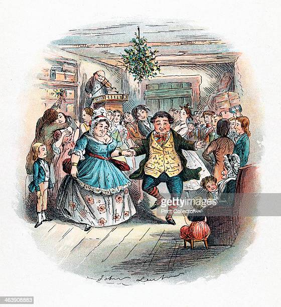 Mr Fezziwig's Ball, 1843. This novella was the earliest and most popular of Charles Dickens' Christmas stories. This scene with a fiddler playing...