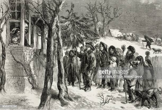 Christmas carol singing illustration from the magazine The Illustrated London News volume XLV December 24 1864