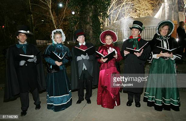 Christmas carolers greet guests at the Christmas With The Kranks afterparty in Central Park November 15 2004 in New York City