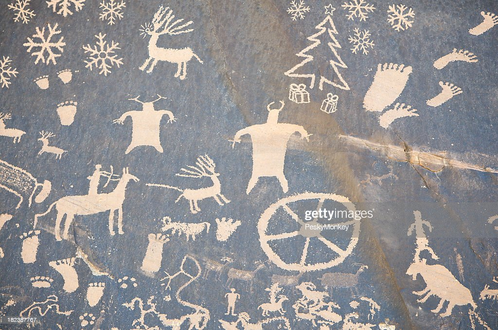 Christmas Cave Drawing w Reindeer and Snowflakes : Stock Photo