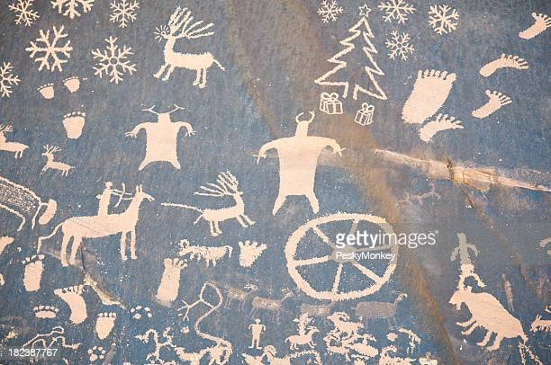 Christmas Cave Drawing w Reindeer and Snowflakes