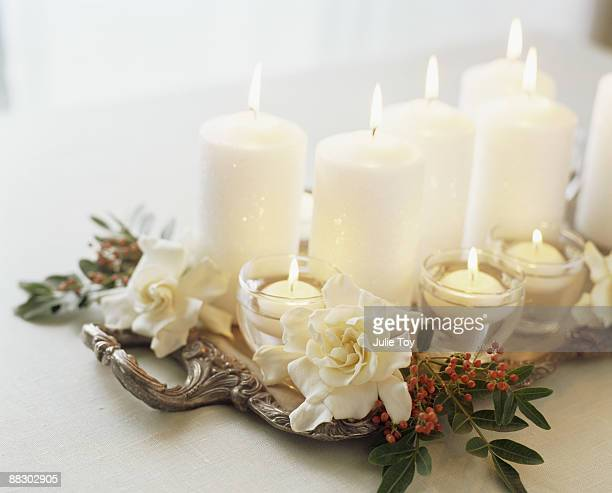 Christmas centerpiece of holly and candles
